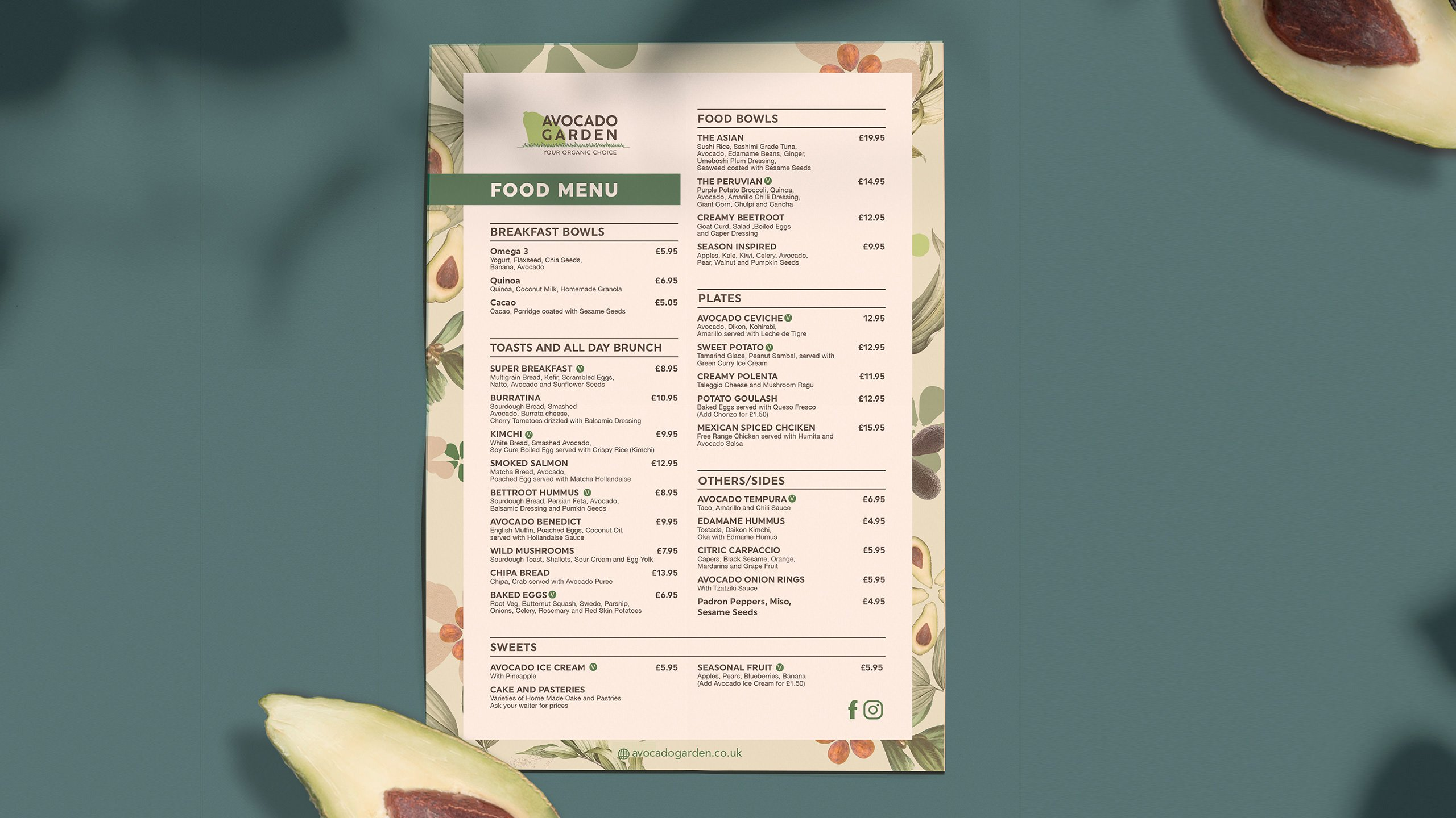 Avocado Garden restaurant menu