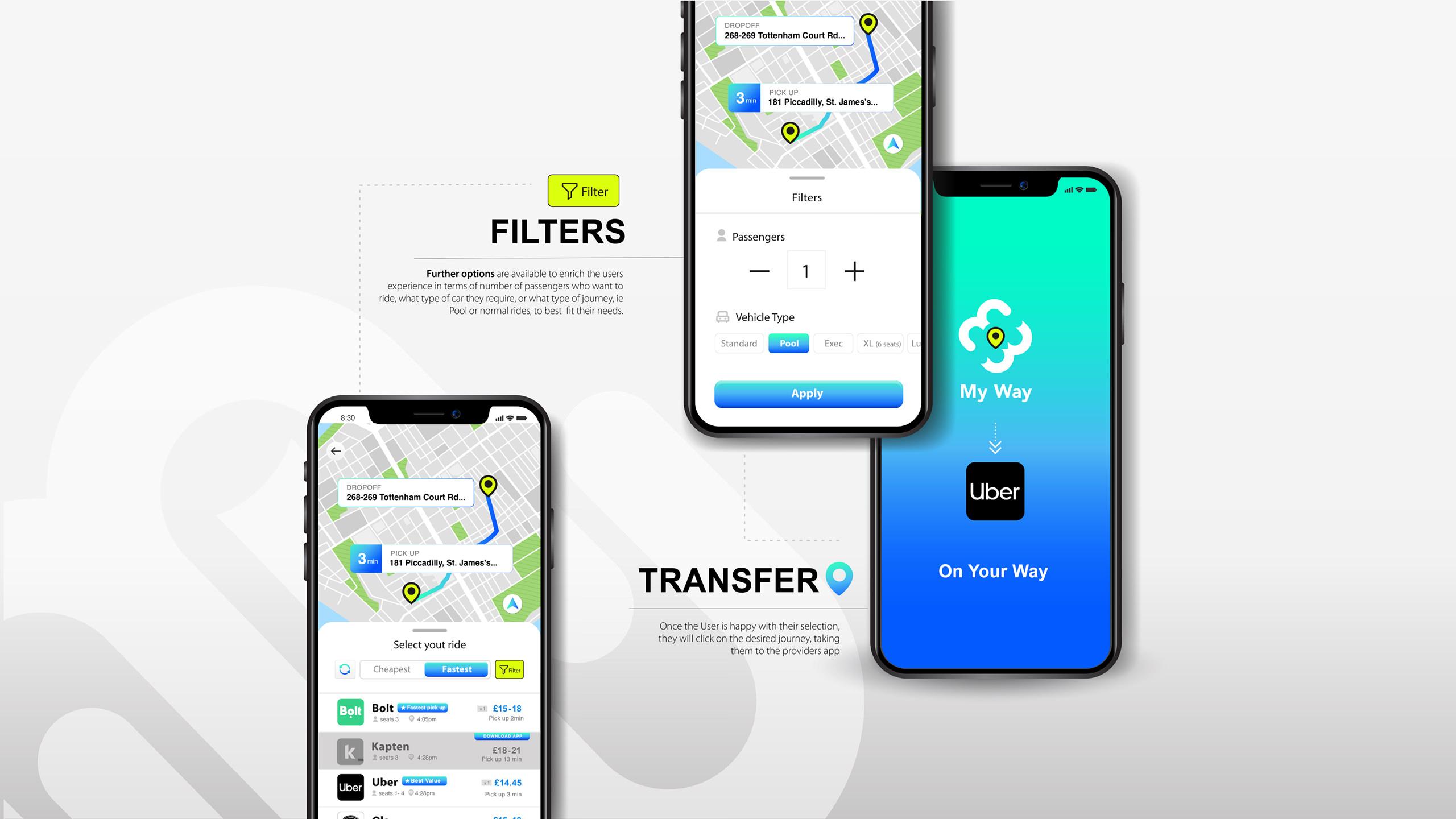 My Way ride-sharing app - UI concept 2